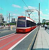Artist's impression of a modern Tram crossing Waterloo Bridge in London