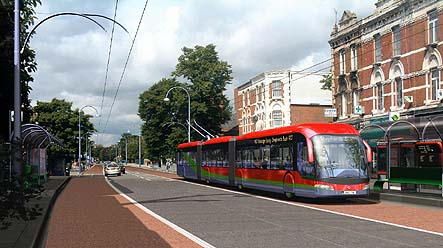 Artist's impression of a new breed of Trolleybus for the Uxbridge Road