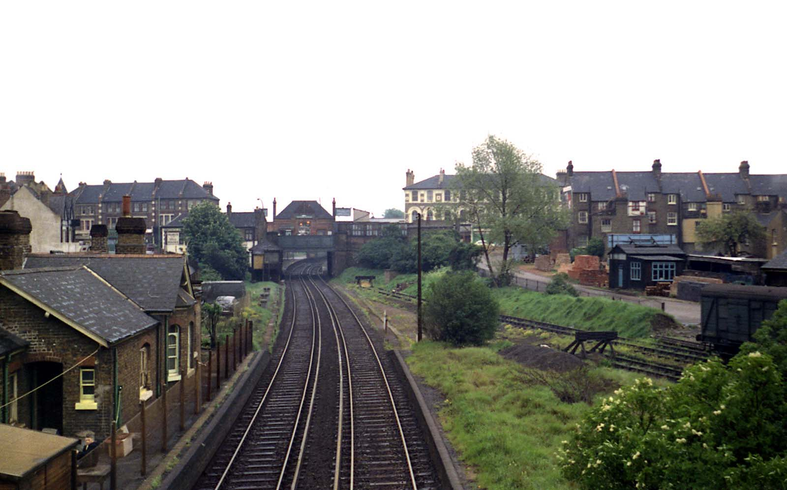 Tooting with the disused Merton Abbey branch platform on the right [1968]