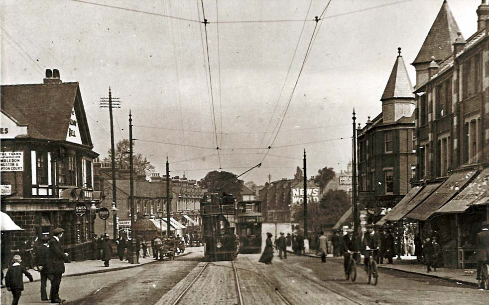 Tram terminus in Mitcham Road, Tooting