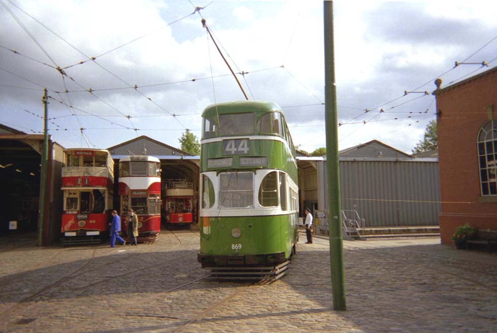 Liverpool Tram #869 at the Crich Tramway Village Depot