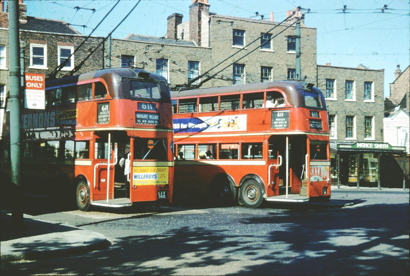 david bradley online - london trolleybuses on route 611 at highgate