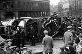 Tram derailment at the corner of Blackfriars Bridge and the Embankment in March 1919
