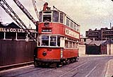 Tram 391 on the temporary bridge over Deptford Creek