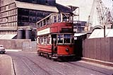 London tram on the temporary bridge over Deptford Creek