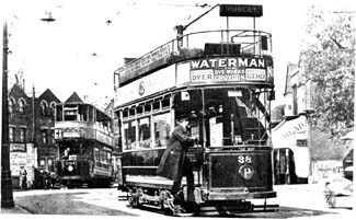 Tram Interchange at Norbury between Croydon and LCC cars