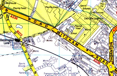 Mitcham area map in the 1950's