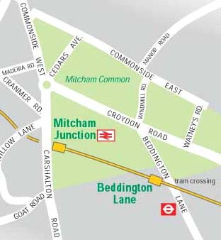 Map of area around Mitcham Junction Station