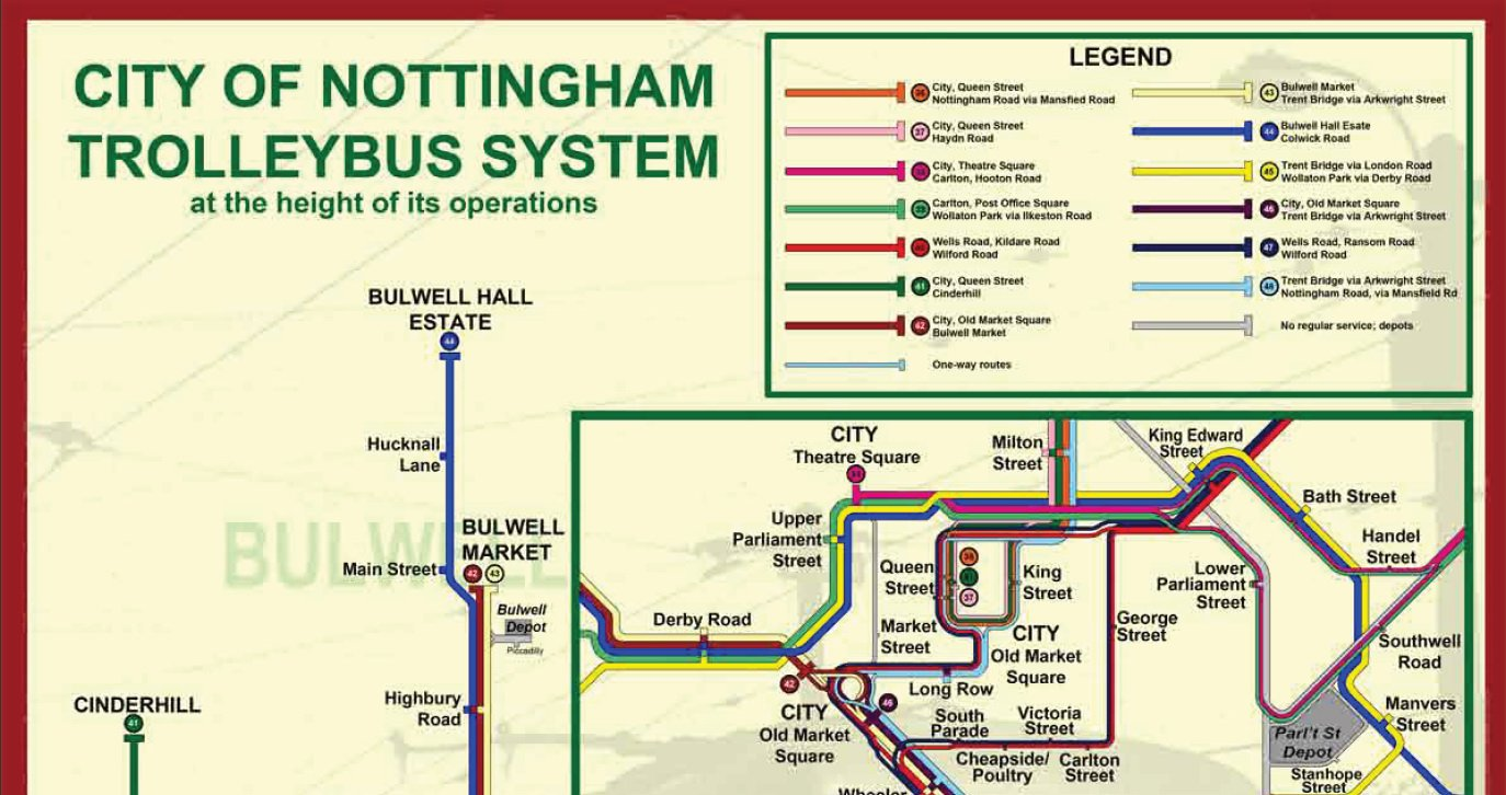 David Bradley Online Nottingham Trolleybus Map